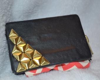 Black Leather Studded Cassette Tape Wallet