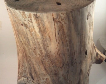 "Rustic Yellow Pine Stump Stool Table plant stand photo prop 9 - 10"" wide 14"" t"