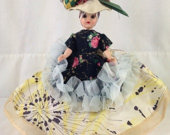 Chiquita Doll with Yellow Skirt and Large Fruit Hat ~ Vintage Collectible Doll ~ Original Chiquita Doll from 1960's ~ TV or Movie Prop