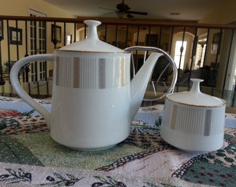 Humoresque  by Noritake , Vintage Teapot & Lid Along with the Sugar Bowl and Lid, in the Humoresque pattern by Noritake