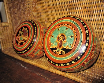 Burma lacquer bowls, peacock & 'hintha' bottoms, red / black / yellow / green, 1973, SET OF 4, never used.  Great vintage condition.