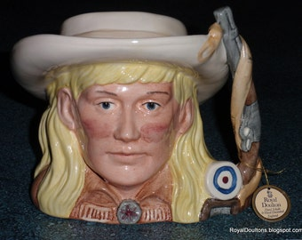 Annie Oakley Character Toby Jug D6732 Royal Doulton Wild West Collection 1984 Gunslinger Cowgirl Collectible Birthday Gift  - ULTRA RARE!
