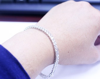 Tennis bracelet with White Sapphire in Sterling Silver 925