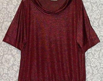AVENUE ~ Ladies Beautiful Metalic VINTAGE Burgandy Knit top ~ Size 2X