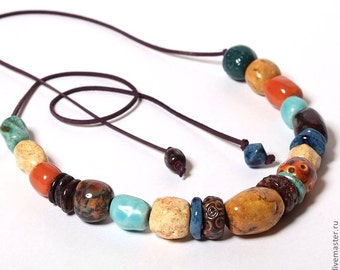 Porcelain necklace/ceramic beads/orange/brown/blue/sienna/ jewelry/Made to order