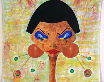 Original modern African art, mixed media, scroll-style, mounted on bamboo dowels