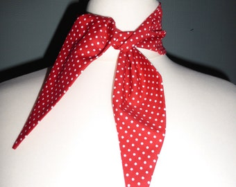 Rockabilly red and white polka dot scarf in the retro vintage 50's style