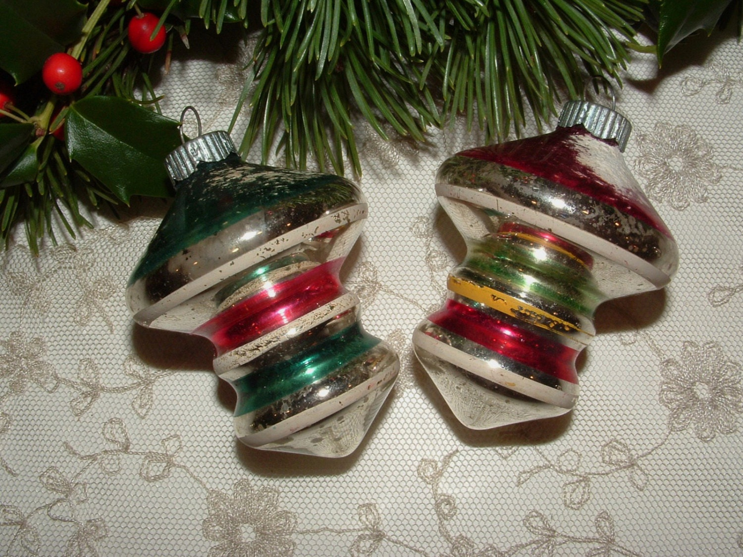 Vintage mercury glass christmas ornaments by krissykringles