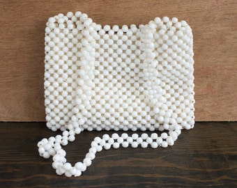 White Beaded Evening Bag | Elegant Purse or Clutch | Made in Italy
