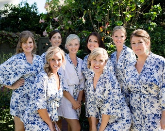 SALE: White and Navy Floral Bridesmaids Robes, Bridesmaid Gift, Robe, Bridesmaids gift, getting ready robes Bridal shower favors baby shower
