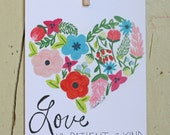 Love Is Patient and Kind, Colored Pencil Art Print, 5x7 or 8x10