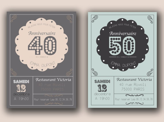 items similar to faire part invitation anniversaire 20 30 40 50 ans vintage retro. Black Bedroom Furniture Sets. Home Design Ideas
