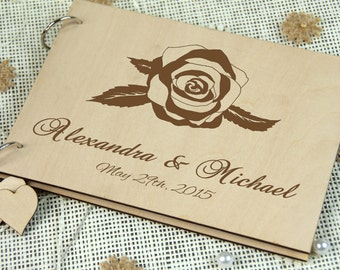 Wedding Guest book , Laser engraved Rustic Guestbook, Wood Guest Book, Bridal Shower Gift