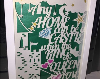 Any home can be a castle papercut template - personal and commercial use
