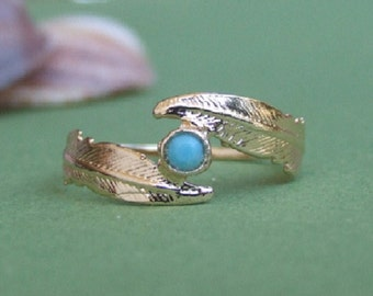 Two Wrap Feathers with Turquize Stone Ring, 14K Yellow Gold Plated Ring