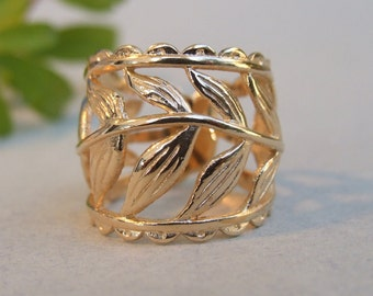 Wide Branch Leaves Ring, 14K Yellow Gold Plated Ring