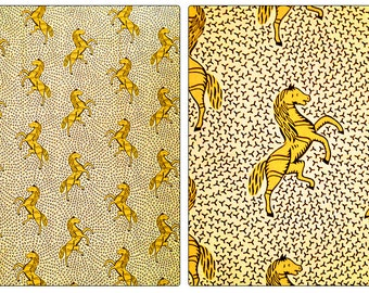 Fat Quarter - African wax print cotton -yellow horse 100% cotton fabric