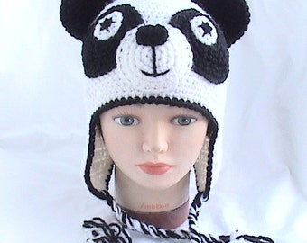 Crochet Panda hat,Crochet animal hat,Crochet kids hat,Crochet fun hat