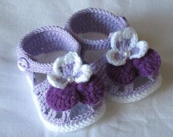 Crochet baby shoes,Crochet baby sandals,Crochet baby booties,Crochet pansy sandals,Crochet pansy booties