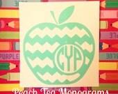 Chevron Teacher Apple Monogram Decal