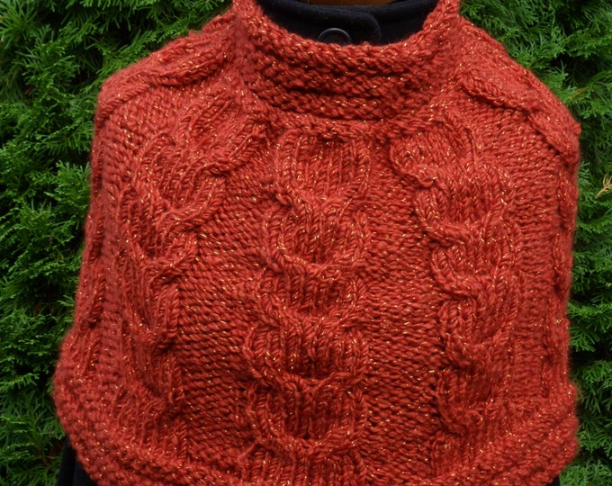 Knit Womens Orange Poncho, Girls Loop scarf, Shoulder Warmer, Neck warmer, Spring Accessories, Hand knit Little poncho, Mother's Day Gift