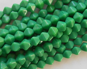 50 6mm Opaque Green bicone pressed glass Czech beads, C8650
