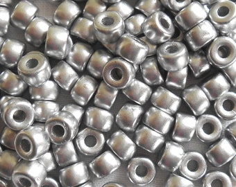 Fifty 6mm Czech Matte Metallic Silver pony roller beads, large hole glass crow beads, C2650
