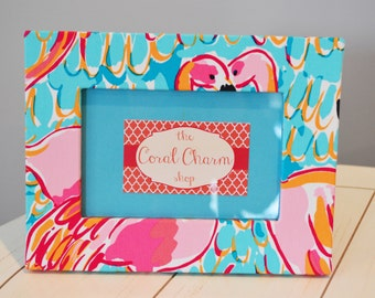 lilly pulitzer peel and eat fabric wrapped wooden frame
