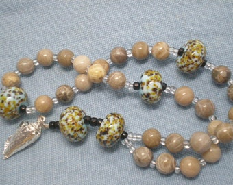 Worry Beads - Fossil Coral Stone - Artisan Glass Lampwork - Conch Charm - Prayer Beads - Meditation Beads - Mindfulness - Centering -197R