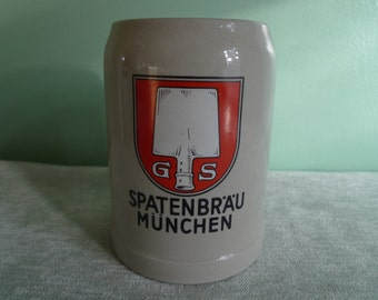 Vintage Large Collectible Beer Mug GS Spatenbrau Munchen Germany 0.5L