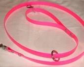 Pink DayGlo Leash Beta Leash Biothane Leash Tree Tie Leash Dog Leash Hound Leash Hunting Leash Stainless Steel Hardware