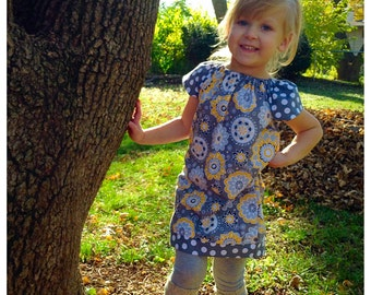 Girls peasant dress, baby girl dress, picture outfit, family pictures, fall outfit, birthday dress, polka dot, grey and yellow