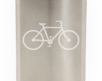 Awesome Cycling Road Bike Etched Hip Flask 8oz