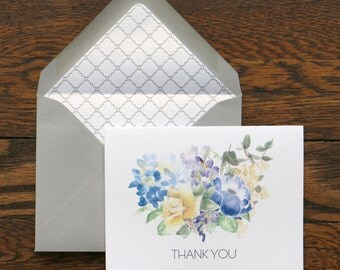 Thank You Bouquet Stationery - set of 6 folded cards + envelopes
