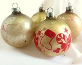 4 Vintage Christmas Ornaments, Satin Gold with Red Stencil