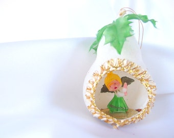 Vintage Plastic Christmas Ornament, 1960's White Flocked Pear with Angel Diorama Christmas Ornament