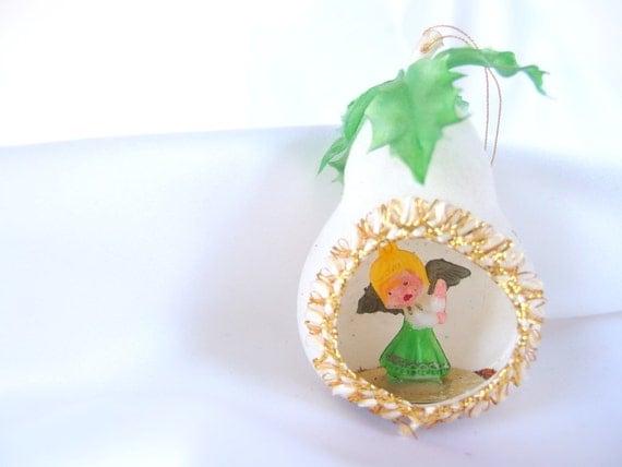 Vintage plastic christmas ornament s white flocked