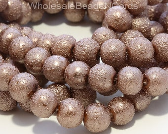 "16"" Strand 10mm Round Textured Glass PEARL Beads - Metallic Light BROWN - Wholesale - Instant Shipping - Lead Free - USA 0444"