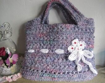 Free shipping, mother's day, crochet hand bag, crochet pouch, girl's bag, kawaii bag, lovely bag, cute bag, flower motif bag,crochet bag