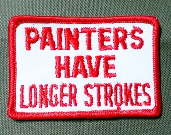 "Vintage 1970's ""Painters Have Longer Strokes'' Embroidered Iron-On Patch 3''X2''"