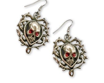 Skull Surrounded by Vines with Red Austrian Crystals Pewter Earrings #1007