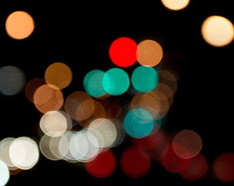 Unique Blurry Light Fine Art Photography, Colorful Wall Art of Night Photography, Abstract Photo Print for a Modern Home Decor Accent