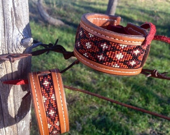 Loom Beaded Bracelet * Genuine Leather -- MADE TO ORDER