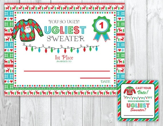 ugly sweater christmas party voting cards  u0026 awards tacky