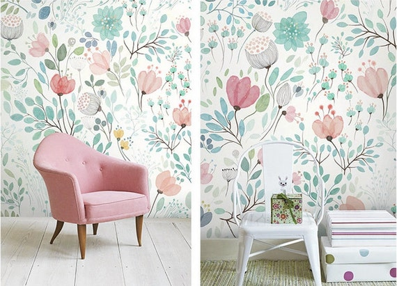 4 Colors -- Watercolor Blossoms Wallpaper Fresh Spring Flower & Leaves Wall Decal Art Bedroom Pink Blue Green White Large Print