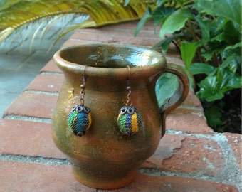 Earrings made with regional Guatemalan fabric. Multicolored. Textile from Guatemala