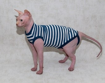 Sailor. Sphynx cat clothing. T - shirt for cat.