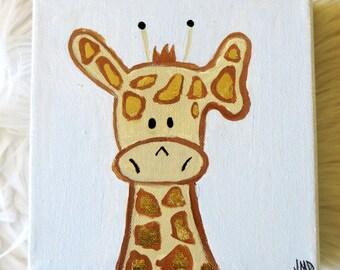 5x5 baby giraffe nursery art - original painting