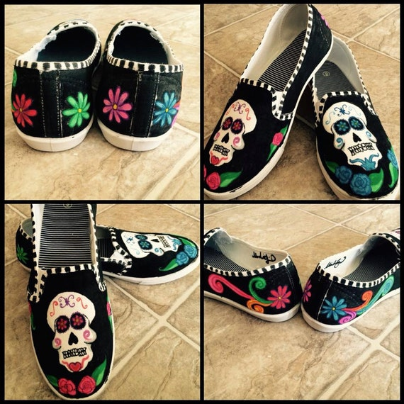 Hand Painted Sugar Skull Shoes Womans size 9 slip by ...