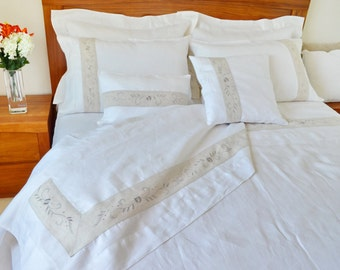 Queen/King Size Bed Sheet Set,  Flat Sheet bed coverlet and Pillowcases Embroidery Shabby Chic Decor Wedding/Christmas Gift White